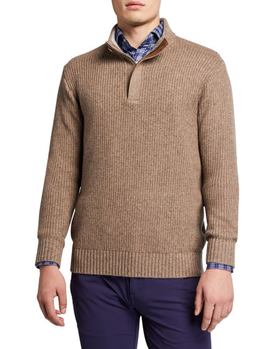 Men's Basketweave Quarter-Zip Sweater