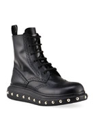 Alexander McQueen Men's Hybrid Lace-Up Boots w/ Studded