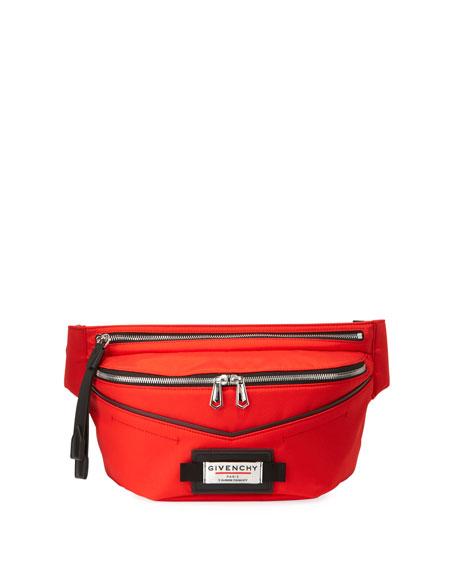 Givenchy Men's Atelier Nylon Leather-Trim Belt Bag