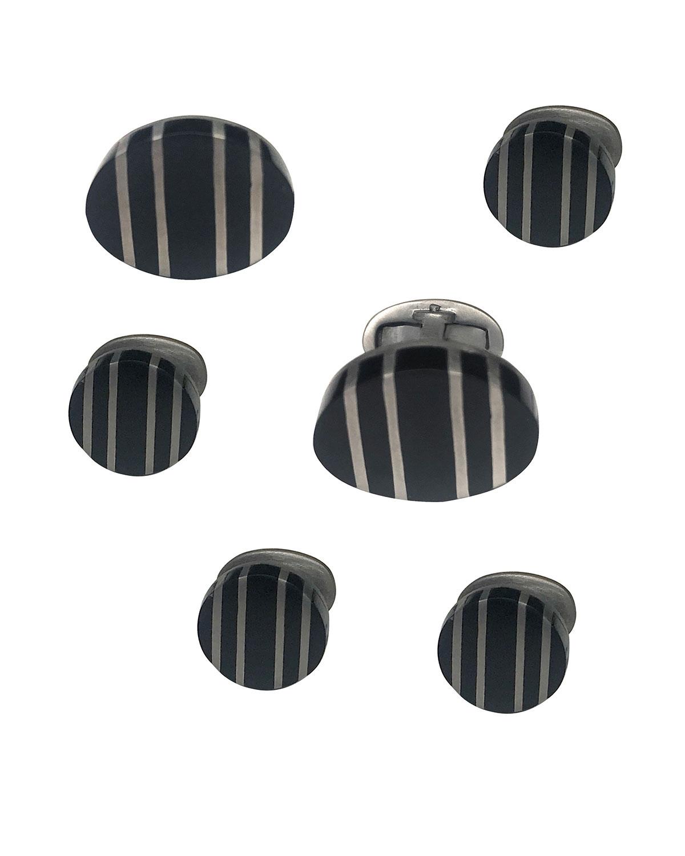 Men's Black Ruthenium-Striped Onyx Cufflink & Stud Set