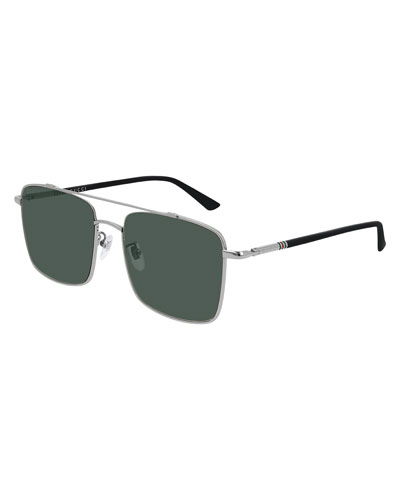 Men's Slim Metal Square Aviator Sunglasses