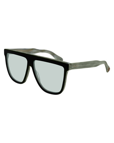 Men's Two-Tone Acetate Straight-Brow Sunglasses