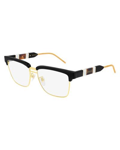 Men's Half-Rim Square Logo Optical Glasses