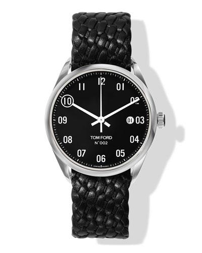 N.002 40mm Round Braided Leather Watch