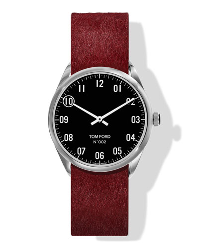 N.002 38mm Round Calf-Hair Leather Watch