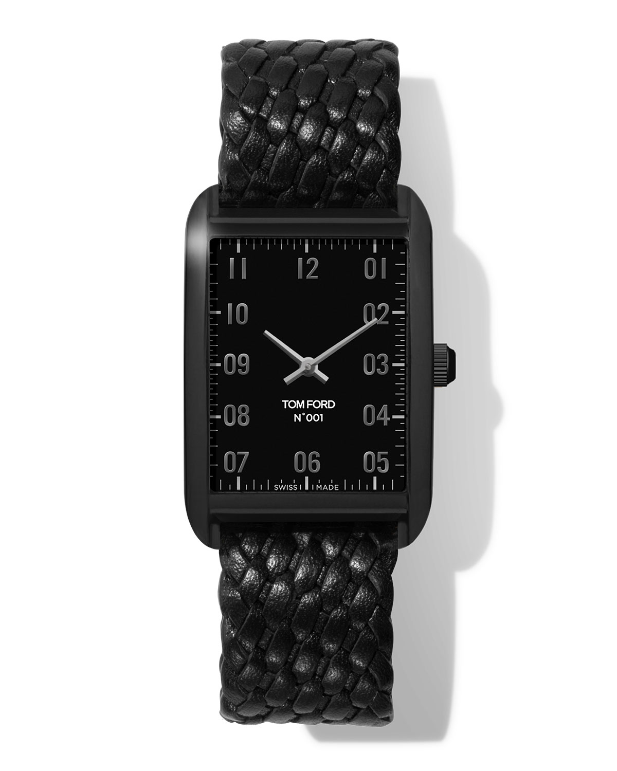 N.001 44mm x 30mm Rectangular Woven Leather Watch