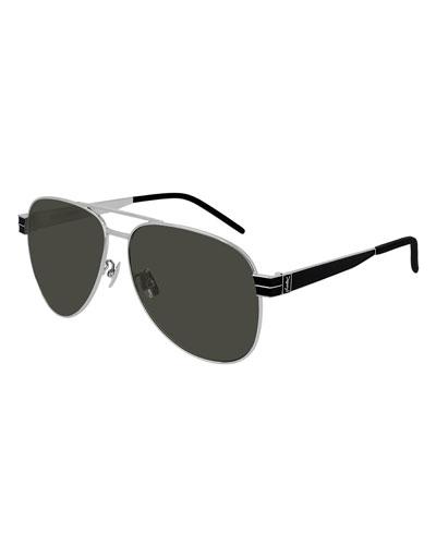 Men's Two-Tone Metal Aviator Sunglasses