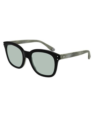Men's Square Two-Tone Acetate Sunglasses