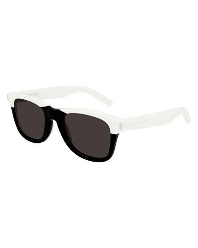 Men's Chunky Square Two-Tone Acetate Sunglasses