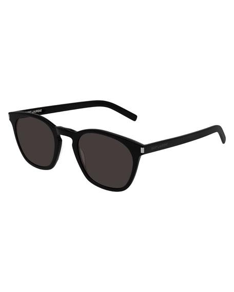 Saint Laurent Men's Square Solid Acetate Sunglasses