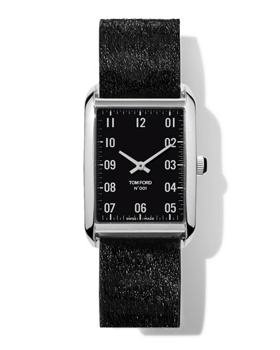 N.001 44mm x 30mm Rectangular Calf-Hair Leather Watch