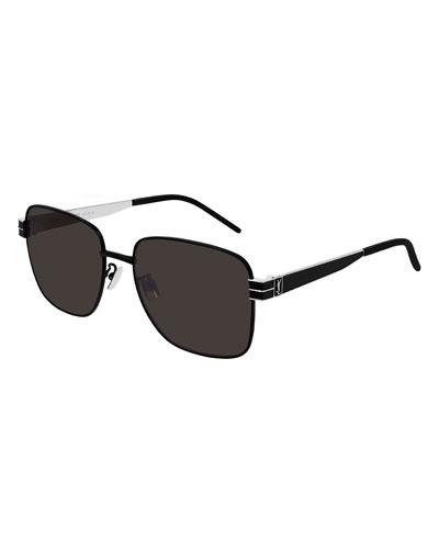 Men's Square Two-Tone Metal Sunglasses