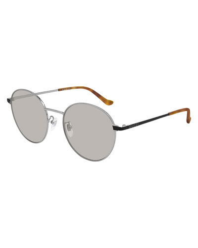 Men's Slim Round Two-Tone Metal Sunglasses