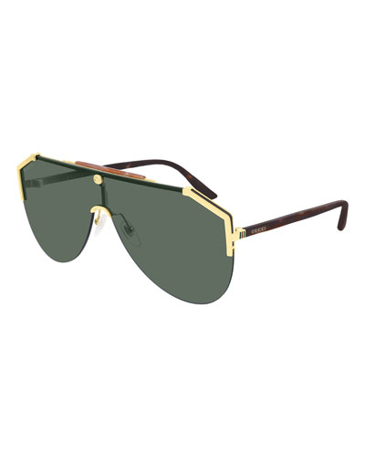 Men's Metal & Tortoiseshell Shield Sunglasses