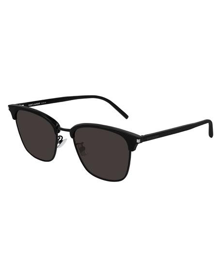 Saint Laurent Men's Half-Rim Solid Acetate Sunglasses