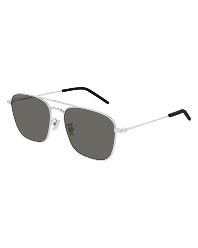 Men's Square Double-Bridge Metal Sunglasses