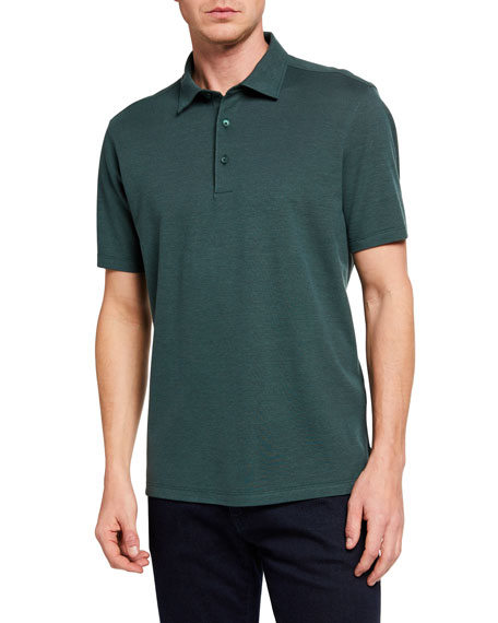 Ermenegildo Zegna Men's Solid Cotton/Silk Regular-Fit Polo Shirt