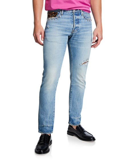 Ovadia Men's Straight Vintage Light-Wash Rocker Jeans