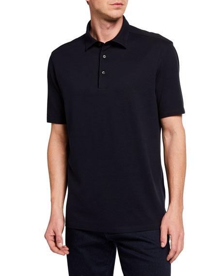 Ermenegildo Zegna Men's Regular-Fit Solid Cotton-Silk Polo Shirt