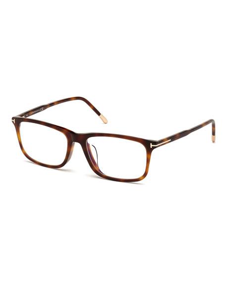 TOM FORD Men's Blue Block Rectangle Tortoiseshell Optical Frames