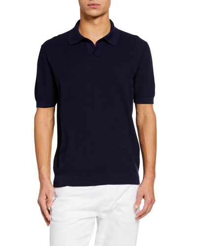 Men's Solid Waffle-Knit Polo Shirt