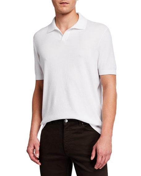 Ermenegildo Zegna Men's Solid Waffle-Knit Polo Shirt