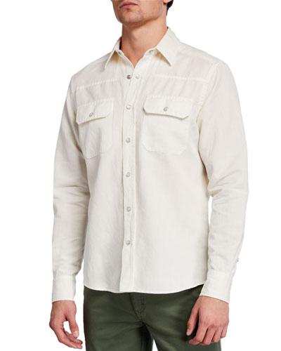 Men's Solid Denim Trim-Fit Sport Shirt