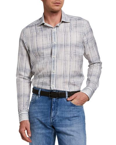 Men's Trim-Fit Graphic Silk-Blend Sport Shirt