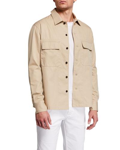 Men's Double-Pocket Cotton Trim-Fit Work Shirt