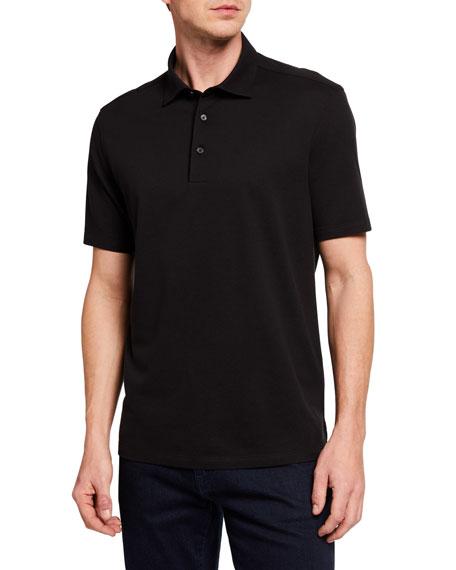 Ermenegildo Zegna Men's Solid Cotton/Silk Regular-Fit Polo Shirt