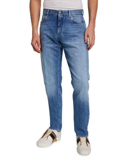 Ermenegildo Zegna Men's Light-Wash Selvedge Trim-Fit Denim Jeans
