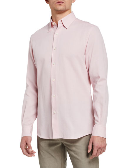 Ermenegildo Zegna Men's Solid Pique Regular-Fit Sport Shirt