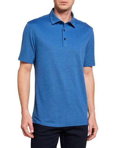 Men's Regular-Fit Solid Cotton-Blend Polo Shirt