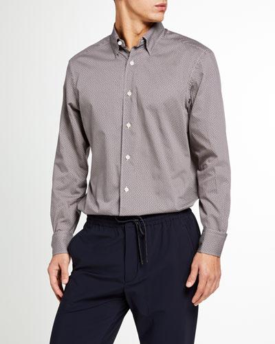 Men's Geometric-Print Trim-Fit Sport Shirt