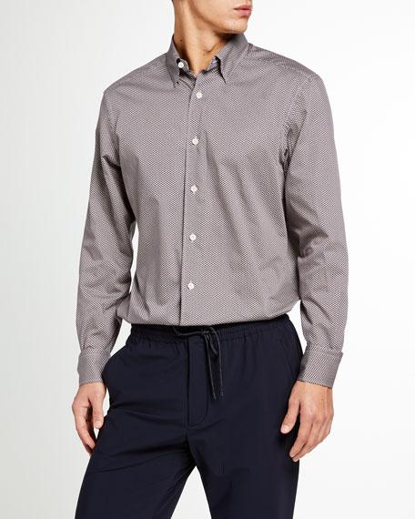 Ermenegildo Zegna Men's Geometric-Print Trim-Fit Sport Shirt