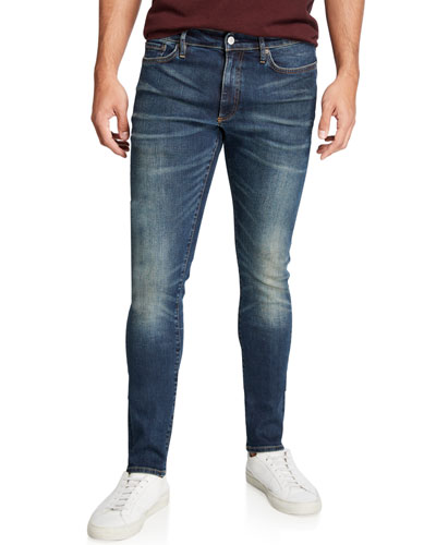 Men's Skinny Indigo Resin Jeans