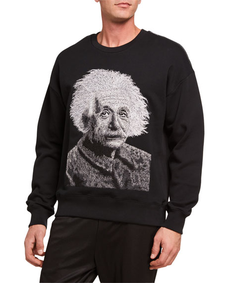 Ovadia Men's Einstein Graphic French-Terry Crewneck Sweatshirt