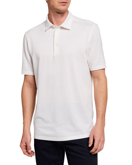 Ermenegildo Zegna Men's Regular-Fit Solid Cotton-Blend Polo Shirt