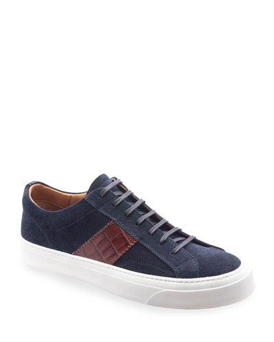 Men's Onzo Suede/Croc-Embossed Leather Sneakers