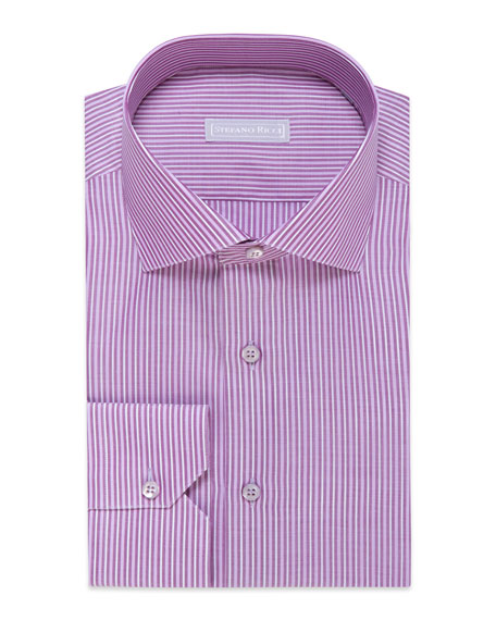 Stefano Ricci Men's Striped Cotton Dress Shirt