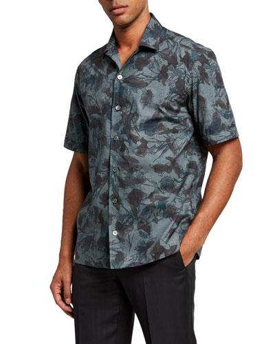 Men's Floral Cuban-Collar Trim-Fit Sport Shirt