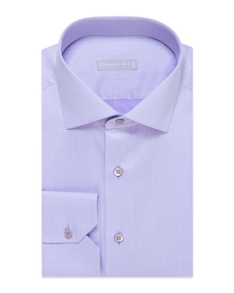 Stefano Ricci Men's Chevron Cotton Dress Shirt