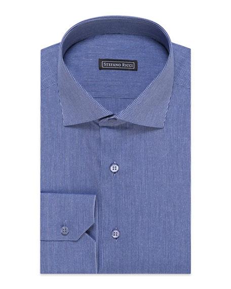 Stefano Ricci Men's Mini-Stripe Cotton Dress Shirt