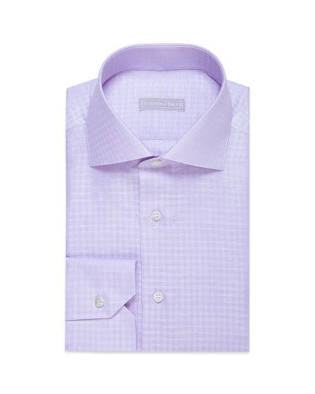 Stefano Ricci Men's Linen Gingham Dress Shirt