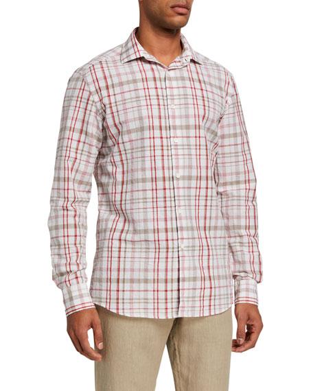 Ermenegildo Zegna Men's Plaid Cotton/Linen Trim-Fit Sport Shirt