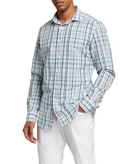 Ermenegildo Zegna Men's Cotton-Linen Plaid Trim-Fit Sport Shirt