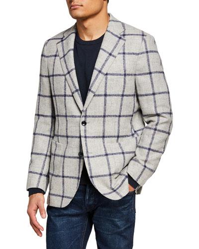 Men's Windowpane Alpaca-Blend Sport Jacket
