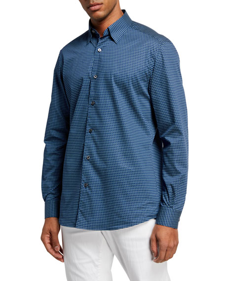 Ermenegildo Zegna Men's Palm Tree-Print Regular-Fit Sport Shirt