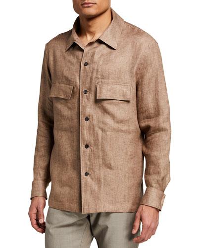 Men's Linen Trim-Fit Work Shirt