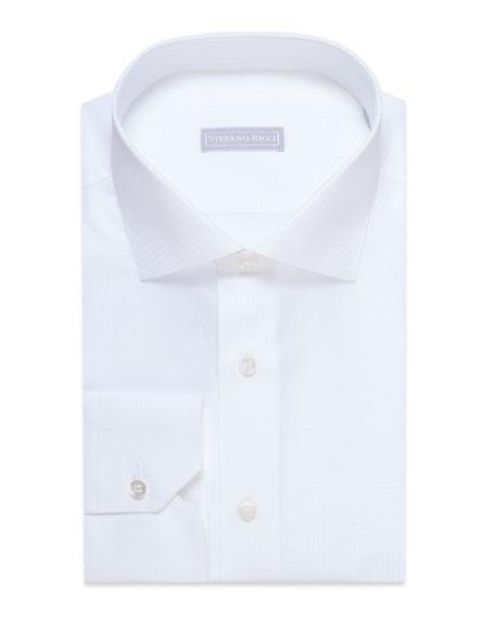 Stefano Ricci Men's Tonal Dot Cotton Dress Shirt